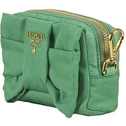 Prada 'Tessuto Fiocco' Green Nylon Cosmetic Case - Thumbnail 1