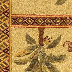 Safavieh Hand-hooked Elephant and Palm Ivory Wool Runner (2'6 x 10') - Thumbnail 1