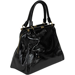 YSL 'Majorelle' Black Patent Leather Medium Bag - Thumbnail 1