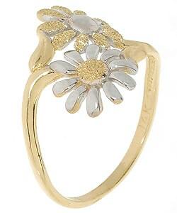 14k Two-tone Gold Daisy Ring - Thumbnail 1