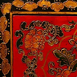 Tibetan Red/ Black Hand-painted Floral End Table - Thumbnail 1