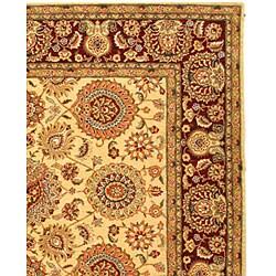 Safavieh Handmade Legacy Beige/ Burgundy Wool and Silk Rug (6' x 9') - Thumbnail 1