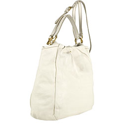 Prada White Pebbled Leather Shopping Bag - Thumbnail 1