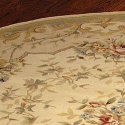 Safavieh Handmade Bouquet Ivory/ Blue Wool and Silk Rug (4' Round)