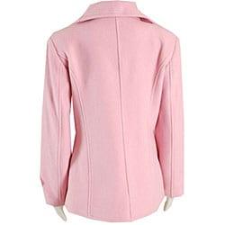 Black Rivet Women's Pink Button-front Wool Peacoat