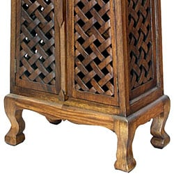 Hand-carved Lattice Design 50-inch Storage Cabinet - Thumbnail 1