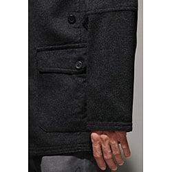 Wool and Cashmere Charcoal Beltless Coat - Thumbnail 1