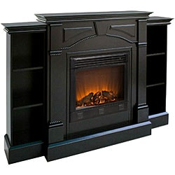... Macon Black Electric Fireplace with Bookcases ...