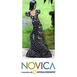 'Flirtatious Pose' Wood Batik Sculpture (Indonesia) - Thumbnail 1