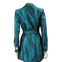 Muse Women's Turquoise Taffeta Trench Jacket - Thumbnail 1