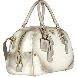 Prada White Pebble Deerskin Bowler Bag - Thumbnail 1
