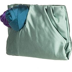 Prada Satin Rose Mint Green Clutch - Thumbnail 1