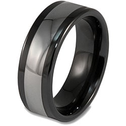 West Coast Jewelry Men's Tungsten and Ceramic Polished Black Inlay Ring (8 mm) - Thumbnail 1