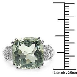 Malaika Sterling Silver Green Amethyst and Diamond Accent Ring - Thumbnail 2
