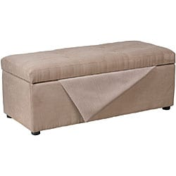 Thumbnail 2, Mocha Microfiber Hinged-storage Ottoman Bench. Changes active main hero.