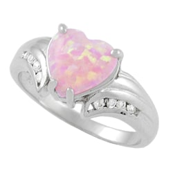 Journee Sterling Silver Heart-cut Opal and CZ Ring - Thumbnail 1