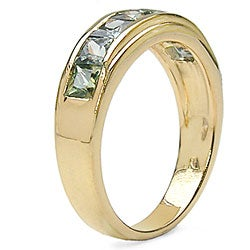 Malaika 18k Gold over Silver Genuine Green Sapphire Ring - Thumbnail 1