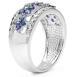 Malaika Sterling Silver Blue Sapphire Diamond Ring - Thumbnail 1