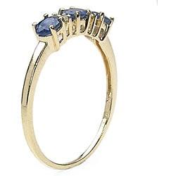 Malaika 10k Gold Blue Sapphire Diamond Ring - Thumbnail 1