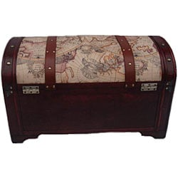 Phat Tommy World Map Decorative Wooden Storage Trunk