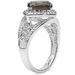 Malaika Sterling Silver Genuine Smokey Quartz and White Topaz Ring