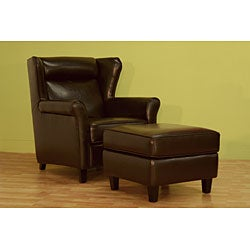 Laura Brown Bi-cast Leather Club Chair with Ottoman - Thumbnail 1