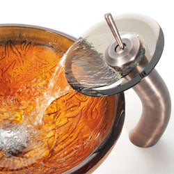 Kraus Copper Glass Vessel Sink and Waterfall Faucet