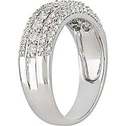 Miadora 14k Gold 3/4ct TDW Diamond 3-row Ring
