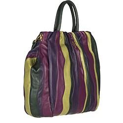 Prada Violet, Green and Yellow Striped Nappa Tote - Thumbnail 1