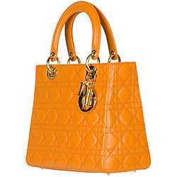 Christian Dior 'Lady Dior' Small Orange Quilted Tote - Thumbnail 1