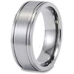 West Coast Jewelry Men's Titanium Brushed and Polished Grooved Ring (9mm) - Thumbnail 1