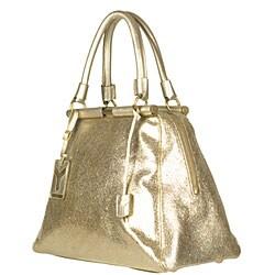 Yves Saint Laurent 'Majorelle Vulcano' Women's Gold Leather Bag - Thumbnail 1