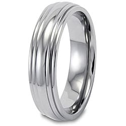 West Coast Jewelry Men's Titanium  Grooved and Polished 5-mm Ring