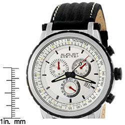 August Steiner Men's White Dial Quartz Chronograph Black Watch