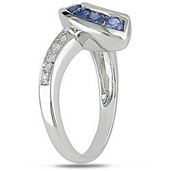 14k Gold Blue Sapphire and Diamond Chevron-style Ring