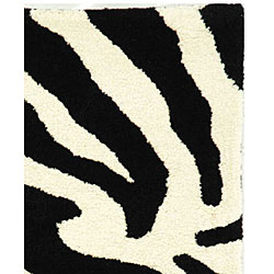 Safavieh Handmade Soho Zebra Wave White/ Black N. Z. Wool Rug (2' x 3')