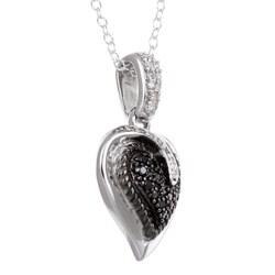 Miadora Silver 1/4ct TDW Black and White Diamond Heart Necklace
