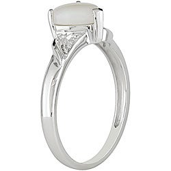 10k White Gold Opal Heart Ring - Thumbnail 1