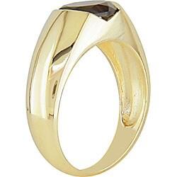 10k Yellow Gold Oval Garnet Ring - Thumbnail 1