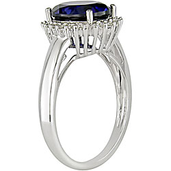 10k Gold Created Sapphire and 1/5ct TDW Diamond Ring - Thumbnail 1