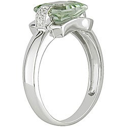 10k White Gold Green Amethyst and Diamond Ring - Thumbnail 1