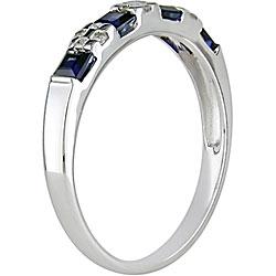 14k Gold 1/10ct TDW Diamond and Blue Sapphire Ring