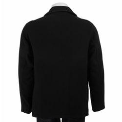 Claiborne Men's Italian Wool-blend Black Coat - Thumbnail 1