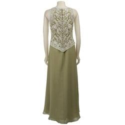 J Kara Sleeveless Beaded Celery Long Formal Dress