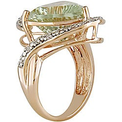 14k Gold Green Amethyst and 1/10ct TDW Diamond Ring - Thumbnail 1