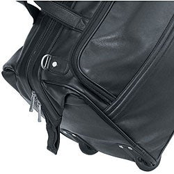 St. Regis Black Napa Leather 20.5 Inch Carry On Rolling Upright Duffel Bag