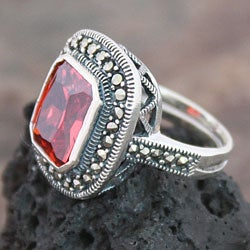 Sterling Silver Marcasite and Red CZ Ring (Thailand) - Thumbnail 1
