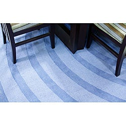 Thumbnail 2, Blue Waves Wool Rug - 5' x 8'. Changes active main hero.