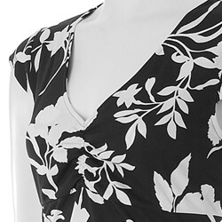 Nina Leonard Womens Floral Print Emipre Waist Dress