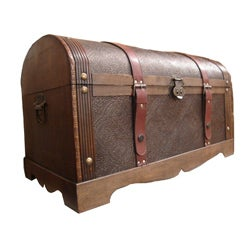 Phat Tommy Round Top Decorative Wooden Storage Trunk